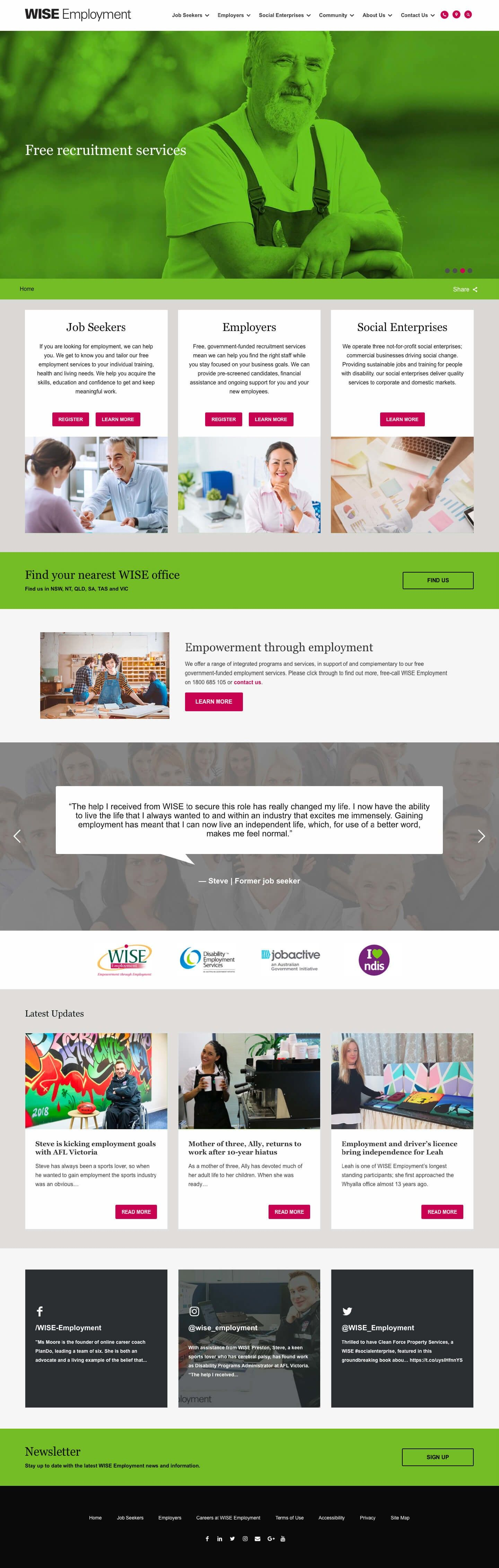 large full vertical preview of the Wise Employment website homepage