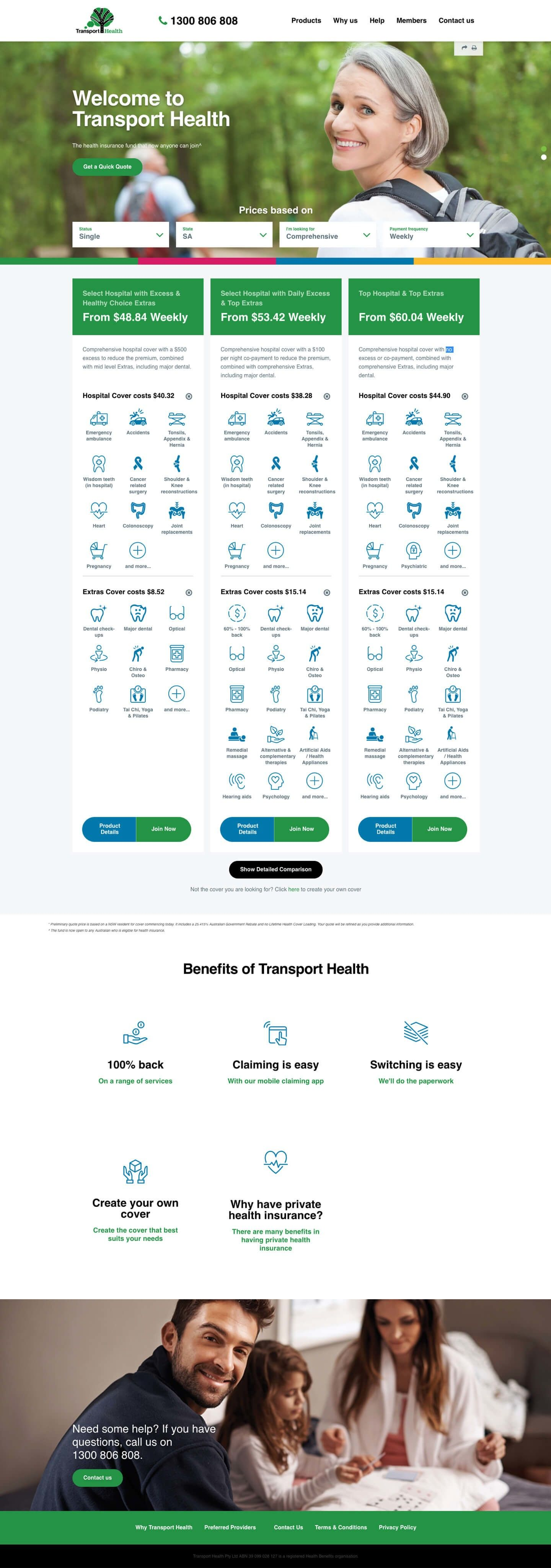 large vertical full transport health homepage
