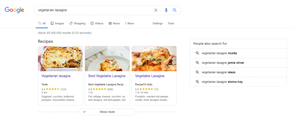 Google Search results for vegetarian lasagne